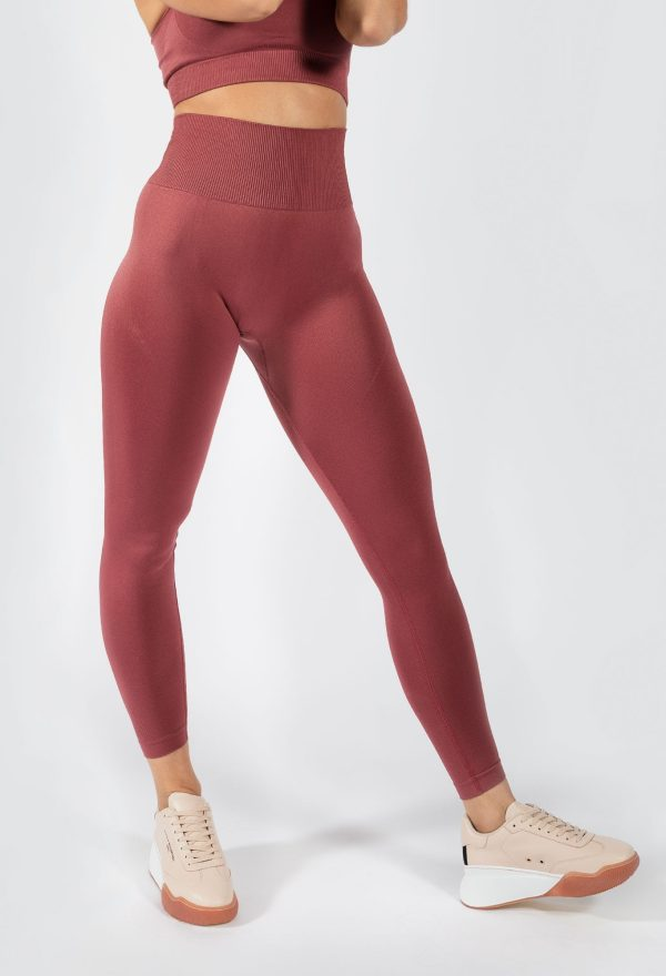 Muki women's high waist legging in rouge pink colour