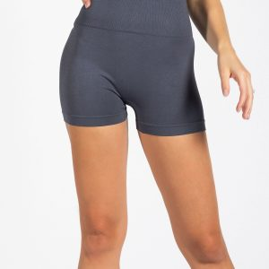 Seamless High-Waist Gym Short in Thunder Grey