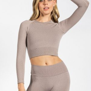 Seamless Ribbed Crop Long Sleeve in Espresso