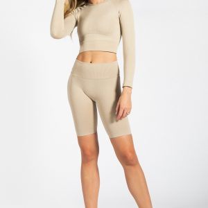 Seamless Ribbed Gym Short in Cream
