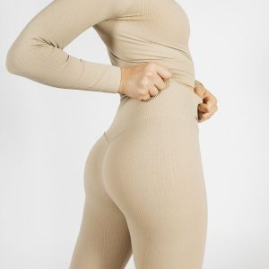 Seamless Ribbed Yoga Set in Cream
