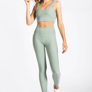 Ribbed Yoga Set in Soft Green