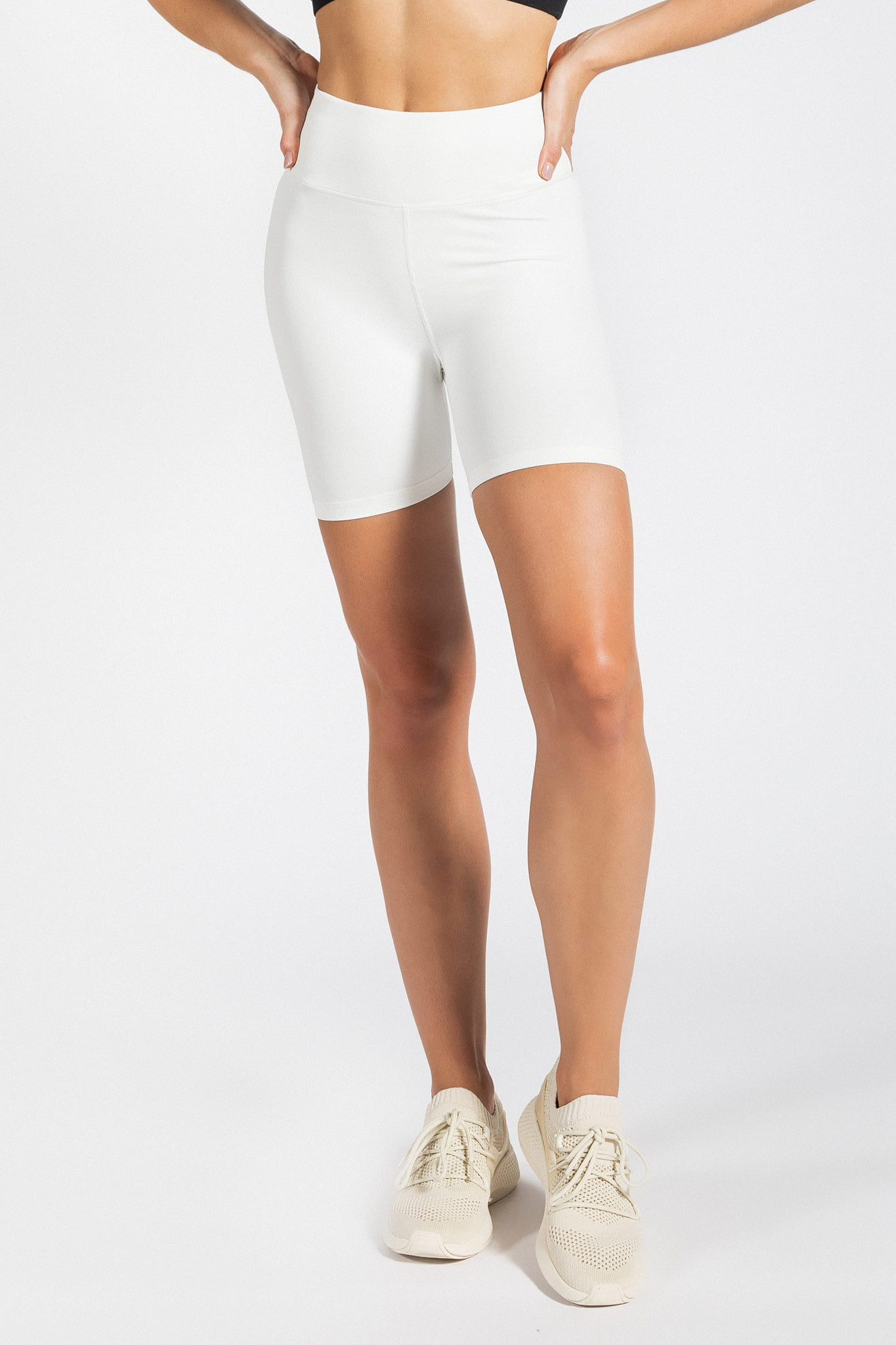 high-waist white biker short