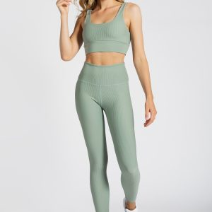 Ribbed Sports Bra in Soft Green