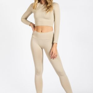 Seamless Ribbed Legging in Cream