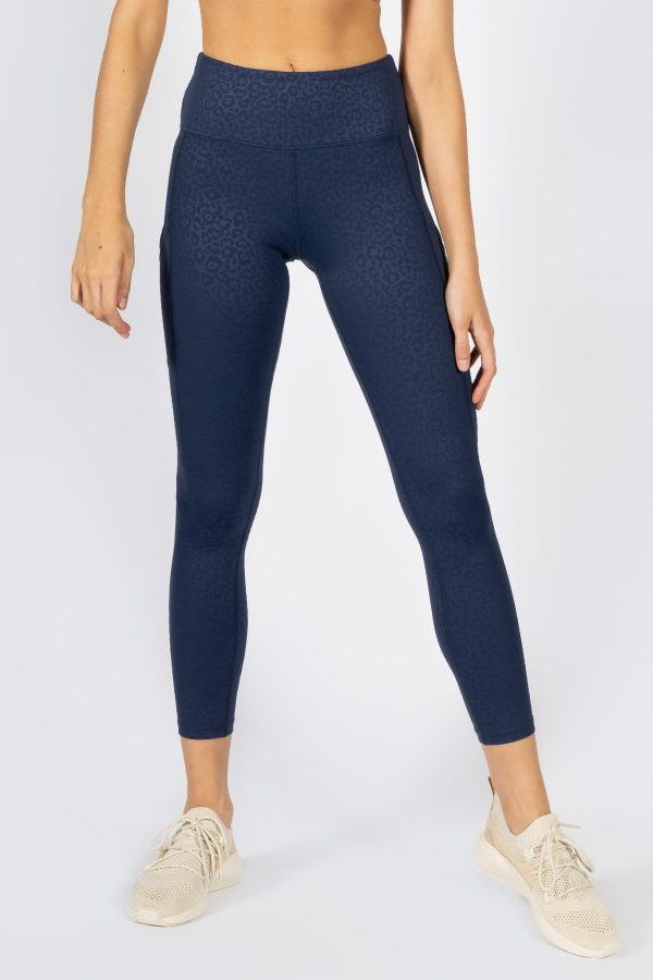 high-waisted legging with leopard print in navy colour