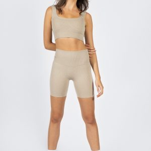 muki high-waisted ribbed short in beige
