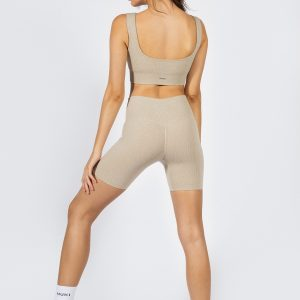 seamless ribbed biker shorts in beige colour