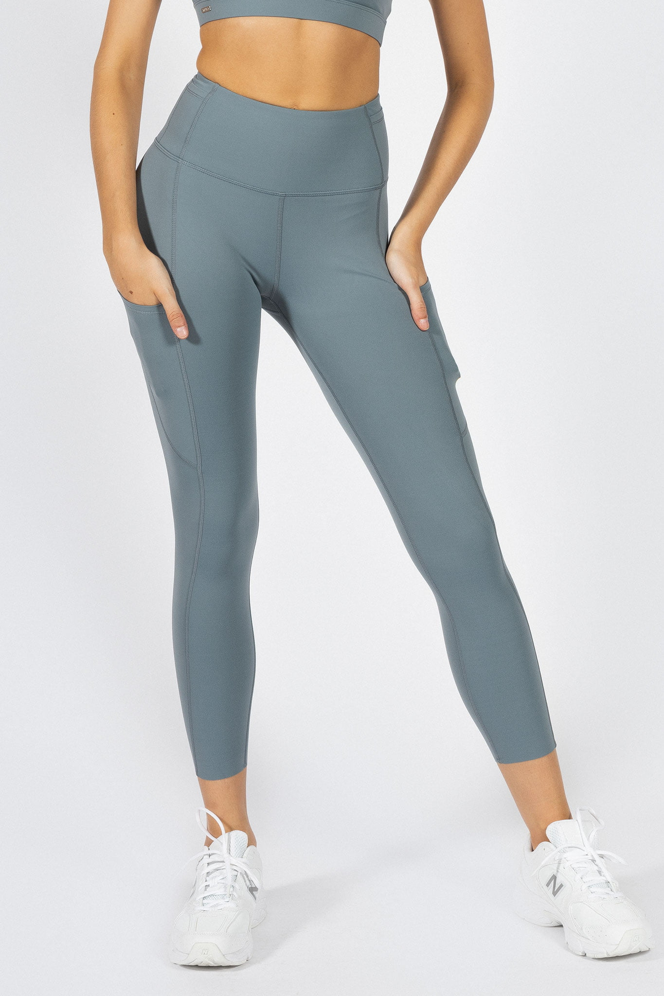 soft high-waisted yoga pant in light blue colour