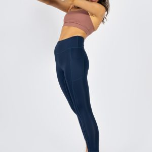 high-waisted leggings with side phone pockets in dark navy
