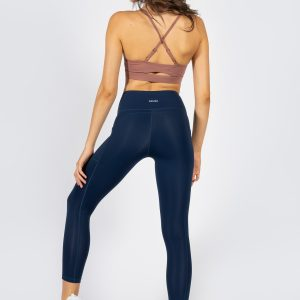 soft touch yoga pants with side pockets in dark navy