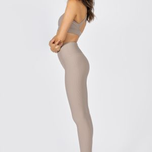 High-Waist Ribbed Legging in Light Taupe