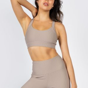 Ribbed Sports Bra in Light Taupe