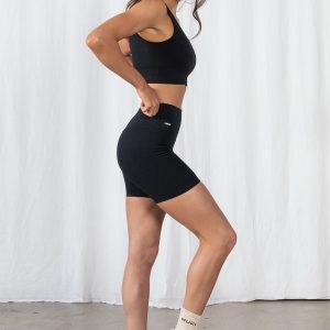 Seamless Ribbed Gym Short in Black